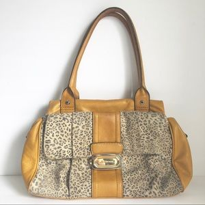 B. Makowsky Mustard Cheetah Leather Shoulder Bag